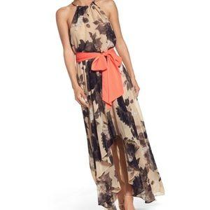 Eliza J Floral Print Halter chiffon Maxi Dress 16
